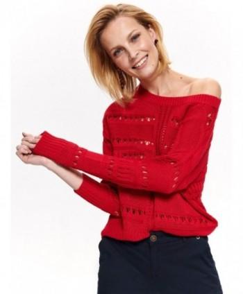 Pulover rosu tricotat SSW2684
