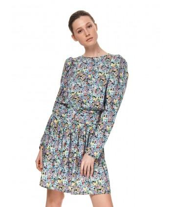Rochie albastra cu flori si...