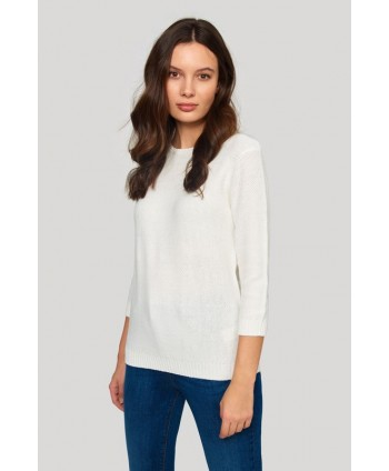 Pulover alb tricotat SWE602