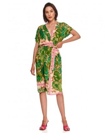Rochie verde stil kimono...