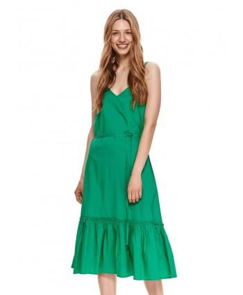 Rochie midi verde cu volan...
