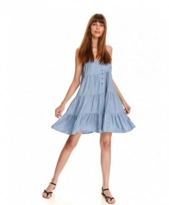 Rochie albastra in volane...