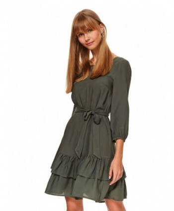 Rochie verde cu 2 volane...