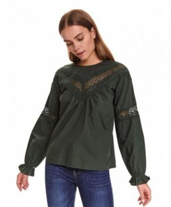 Bluza verde dark cu maneca...