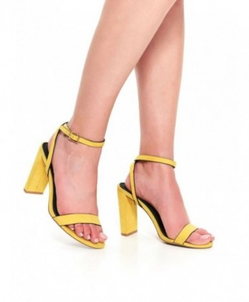 Sandale galbene cu toc SBU0756