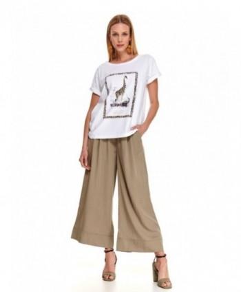 Pantaloni 3/4 beige largi...