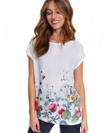 Bluza alba cu flori SPO4549