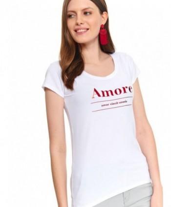 Tricou alb cu imprimeu SPO4492
