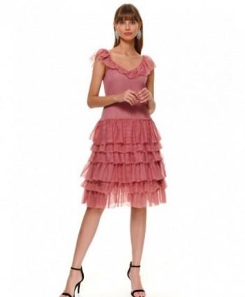 Rochie roz cu volane din...