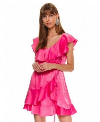 Rochie roz cu volane Top...
