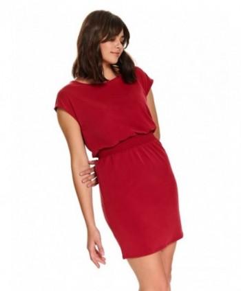 Rochie rosie cu elastic in...